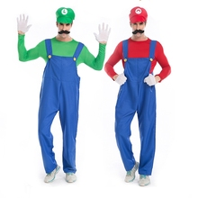 Halloween Costumes Men Funy Cosplay Costume Super Mario Luigi Brothers Fancy Dress Up Party Costume Jumpsuit Cute Costume Adult