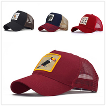 HUOBAO  Summer Embroidered Animal Baseball Caps Women Mens Trucker Hats Gorras Adjustable Breathable Mesh Snapback