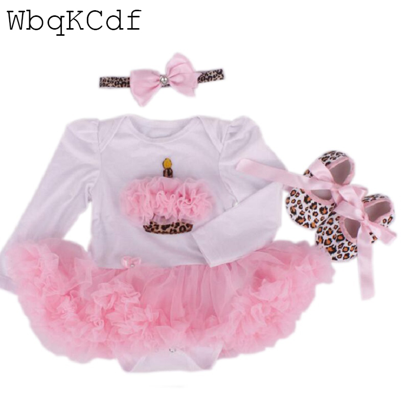 купить New Baby Girl Clothing Sets Lace Tutu Romper Dress Jumpersuit+Headband+Shoes 3pcs Set Bebe First Birthday Costumes suit for baby по цене 728.11 рублей