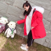 2017 Winter Red Real Fur Coat Women Jacket White Raccoon Fur Parka Jacket Natural Fox Fur