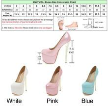 ANNYMOLI Women Pumps Extreme High Heels Platform Wedding Shoes Bridal White Stiletto Sexy Pumps 16 cm Heels Spring Shoes 33-46