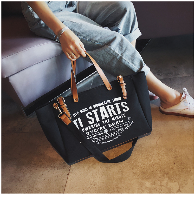 Luxury Ladies Bags Canvas Fashion Large Capacity Tote Bags Letter Shoulder Messenger Bags for Women 2018 Casual Tote Luis Vuiton 9