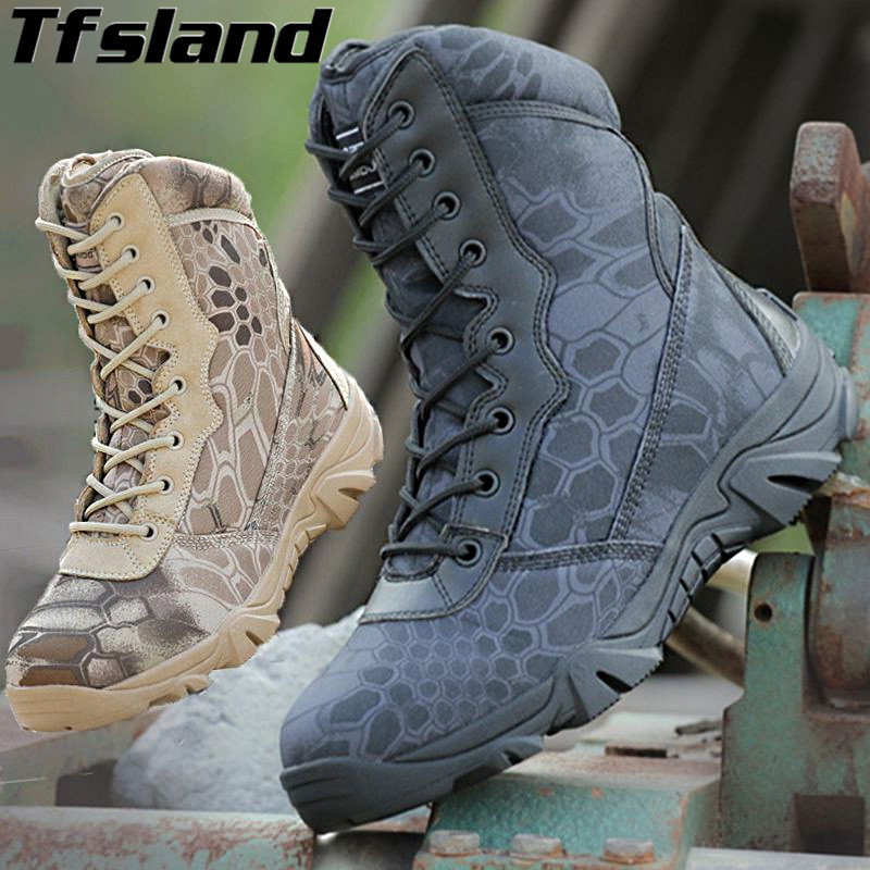 Men Breathable Python Camouflage Boots Special Forces Tactical Military Boots Desert Army Trekking Outdoor Hiking Shoes Sneakers
