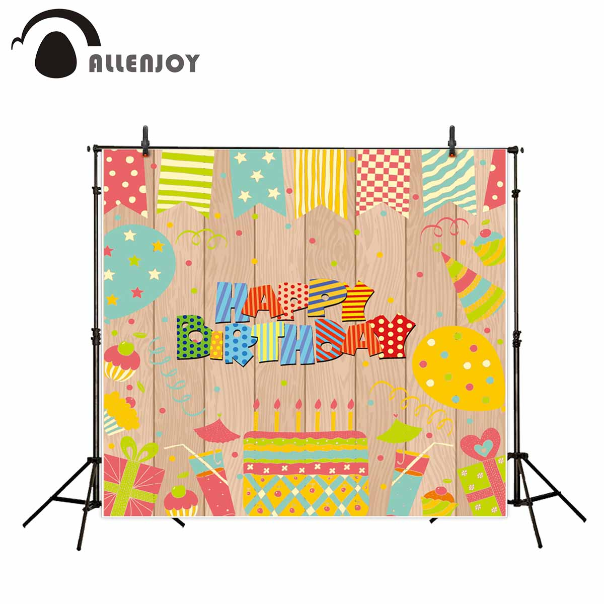 Allenjoy photo background Wooden board Birthday Cake Balloons Party backdrop banners camera fotografica profissional