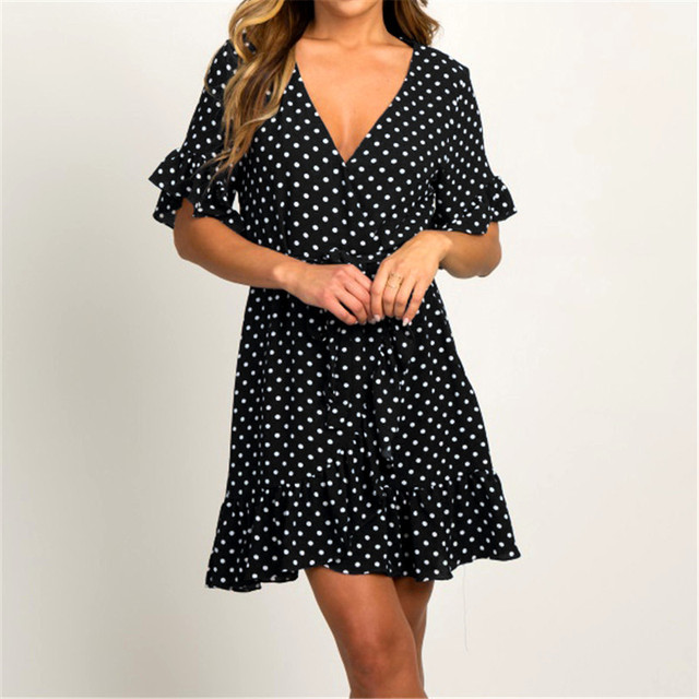 Fashion Short Sleeve V-neck Polka Dot A-line Party Beach Dress 4