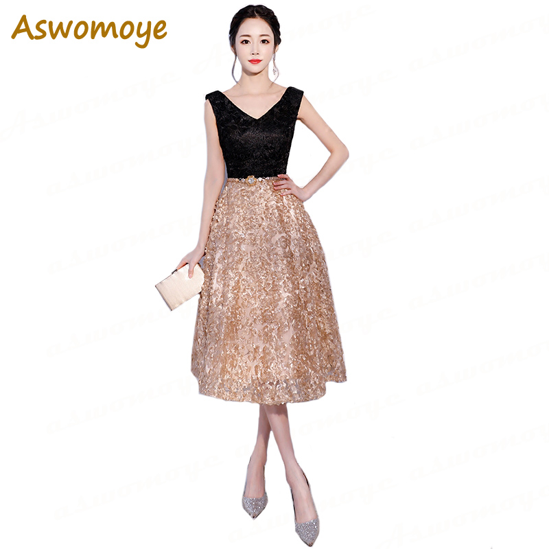 Aswomoye Elegant Short Evening Dress 2018 New Stylish V Neck Prom Dress  Sleeveless with Golden Metal Sashes robe de soiree-in Evening Dresses from  Weddings ... 381172a29659