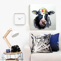 Oil Paintings Abstract Cow Artwork Wall Art Painting for Restaurant Room Wall Decor Cow That Licks Its Nose Nordic Hand Painted