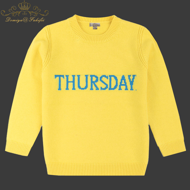 Girl Sweater Knitted Baby Clothing 2018 Winter Children Clothing Boy Letter Thursday Pullover Rabbit Fur Outerwear Kid Knitwear rabbit print pullover