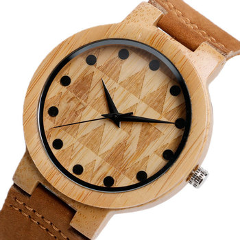 Reloj madera bambú, correa cuero