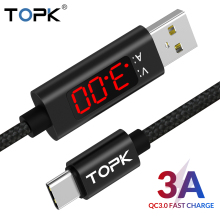 TOPK DLine1 1M Type-C Cable Nylon Braided Voltage and Current Display 3A Fast Charging USB Type C Data Sync Charger
