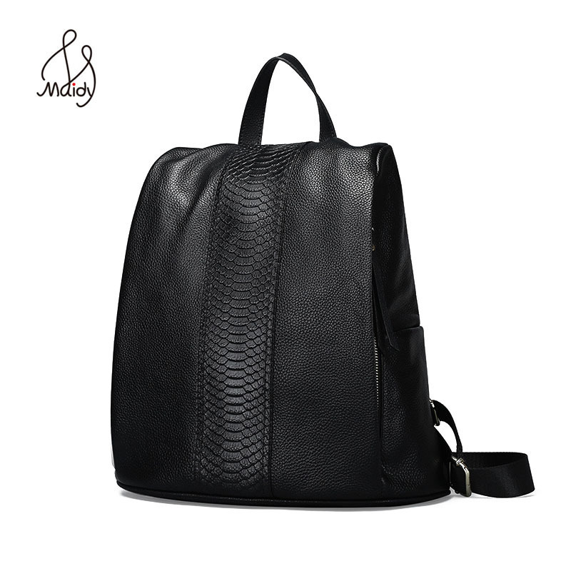 Genuine Cow Leather Serpentine Women Large Backpack Mochila School Bags Teenagers Designer High Quality senkey style designer backpack men high quality 2017 waterproof leather retro laptop backpack women school bags for teenagers