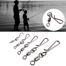 OOTDTY 50pcs Rolling Swivels Interlock Snap Size 10 8 6 4 2 Connector Terminal Tackle  Turn ring for fishing carp fishing swivels terminal tackle size 8 rolling swivel 4 terminal fishing tackle