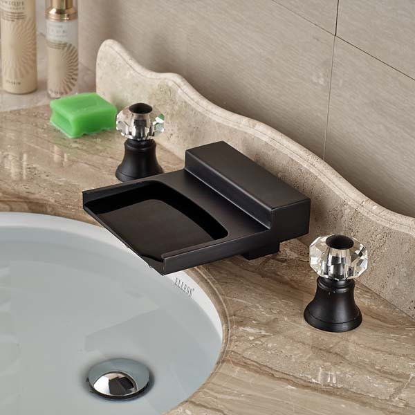 Luxury Oil Rubbed Bronze Waterfall Bathroom Faucet 3 Holes Crystal Handles  Mixer In Basin Faucets From Home Improvement On Aliexpress.com | Alibaba  Group