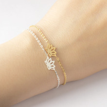2017 Yoga Jewelry Cute lotus Charm Bracelets Silver Plated Stainless Steel Chian Fsshion Flower Bracelet Bridesmaids Gif