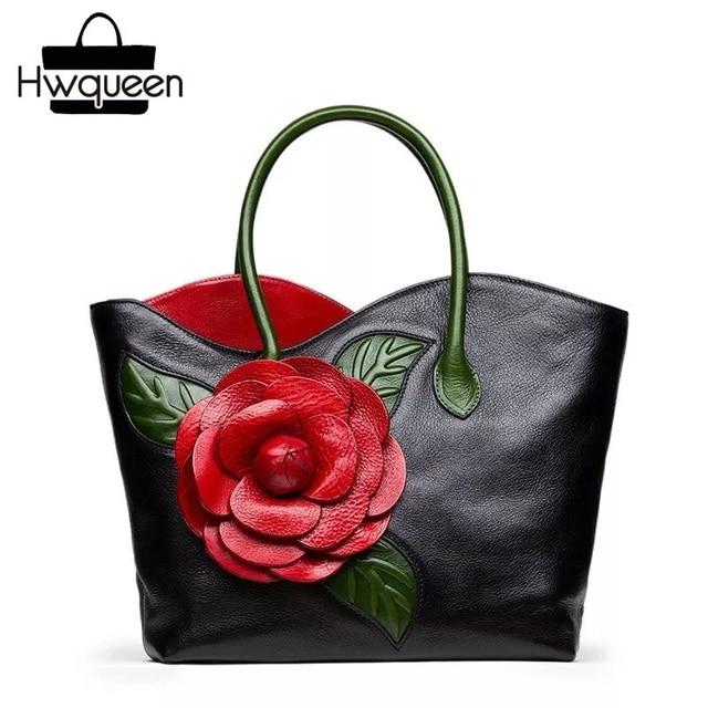 Chinese Vintage Designer Genuine Cow Leather 3D Red Rose Flower Women's Top-handle Toes Bag Ladies Female Black Floral Handbag