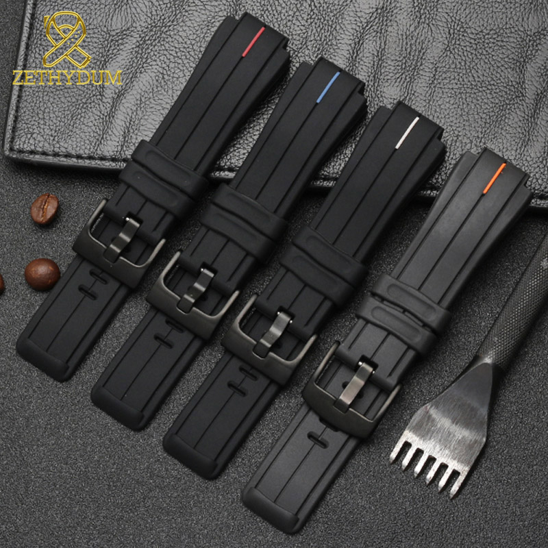 high quality Silicone Rubber bracelet 24*16mm watchband for timex T2N720 T2N721 TW2T76300 watch band sports silicone strap