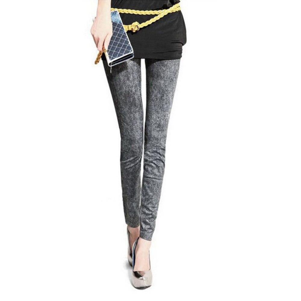 Fashion Slim Women Stretch Denim Jeans Ladies   Leggings   Casual Thin Pencil Pants Skinny Faux Denim Elastic   Leggings   3 Types