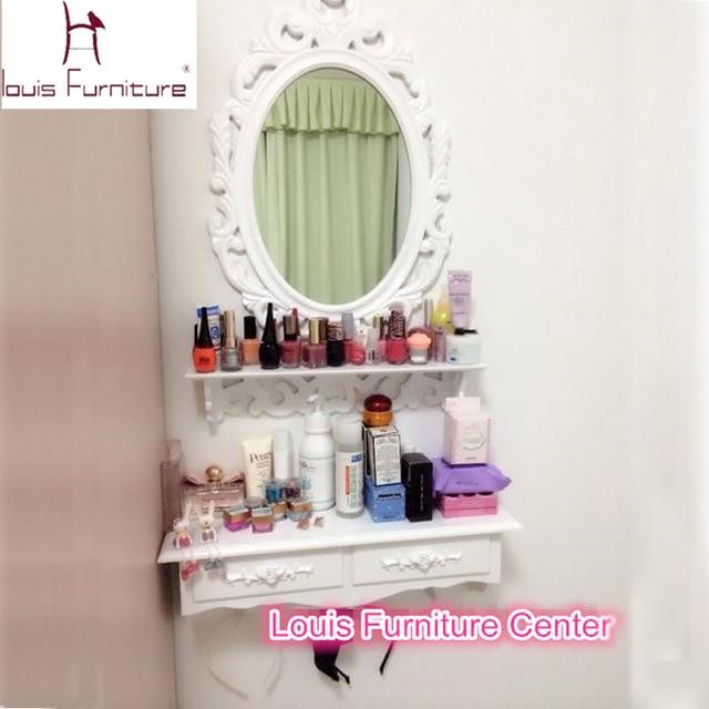 Korean Style Mini Wall Hanging White Ivory Dresser With Mirror Shelf