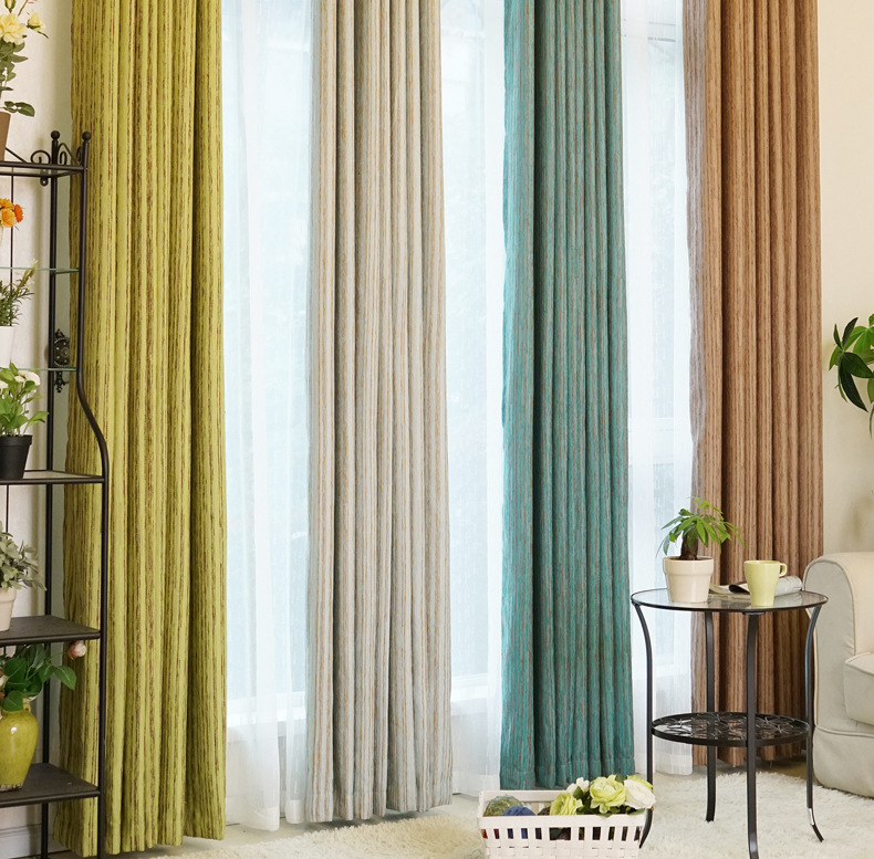 New solid color high-quality shade curtains finished,Chenille material curtains for the living room bedroom home decoration