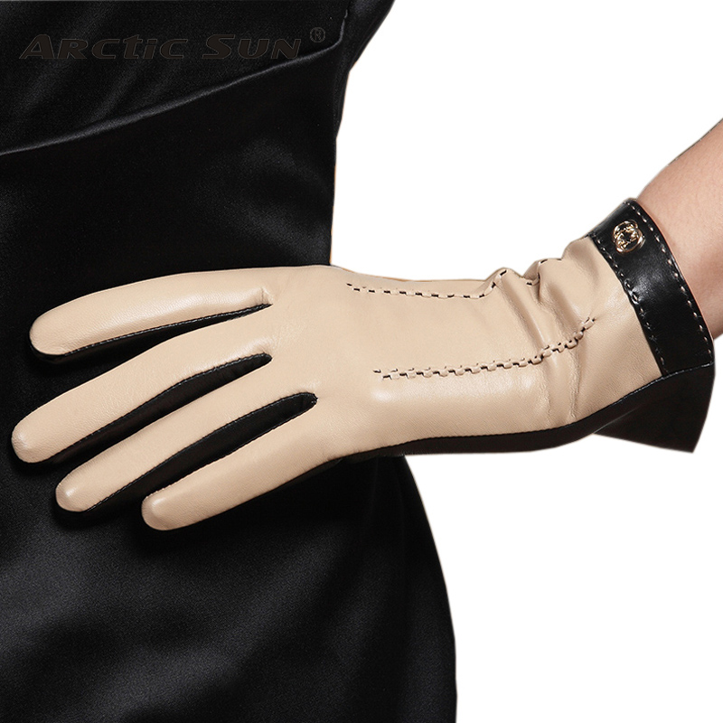 New Listing Women Genuine Leather Touch Screen Gloves Fashion Five Finger Sheepskin Glove With Warm Velvet Lining Ladies L169NC2