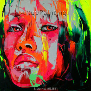 Palette knife painting portrait Palette knife Face Oil painting Impasto figure on canvas Hand painted Francoise Nielly 0610-18