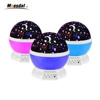 Romantic Led Night Lamp usb Rotating Starry Star Moon Sky Rotation Night Lighting Projector Lamp Kids Baby Sleeping Light