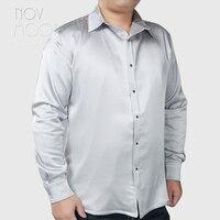 Summer spring men white grey navy blue natural silk satin shirt plus size 6XL long sleeve chemise homm camiseta masculina LT2326