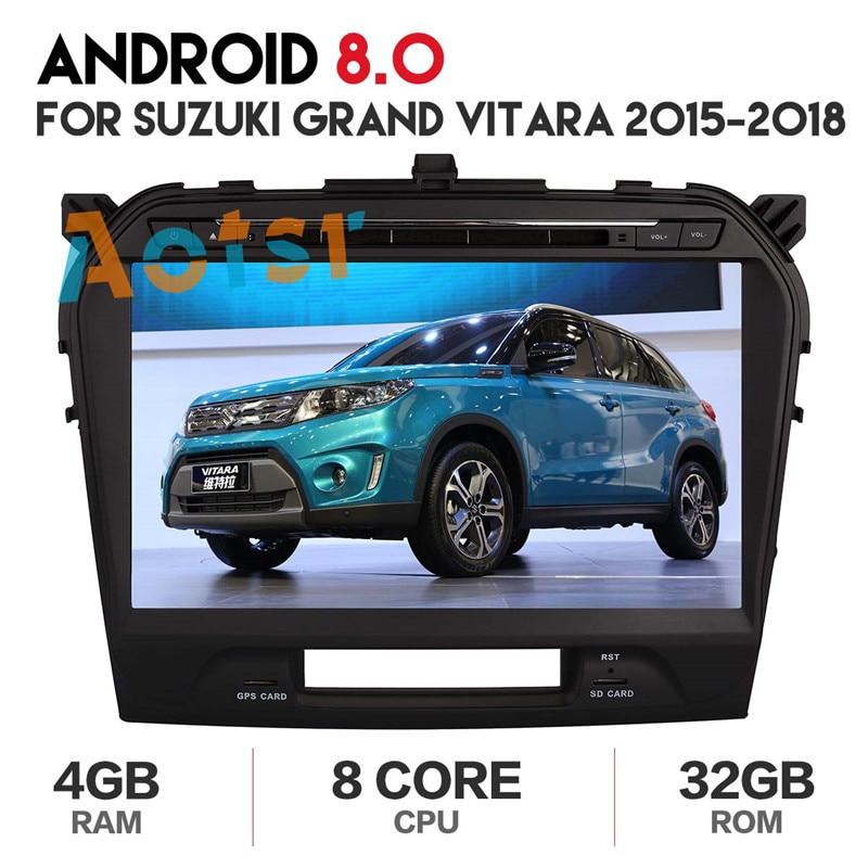 4G + 32G android 8.0 dvd de voiture pour suzuki grand Vitara 2015-2018 vitara multimédia autoradio stéréo gps avec volant 8 core