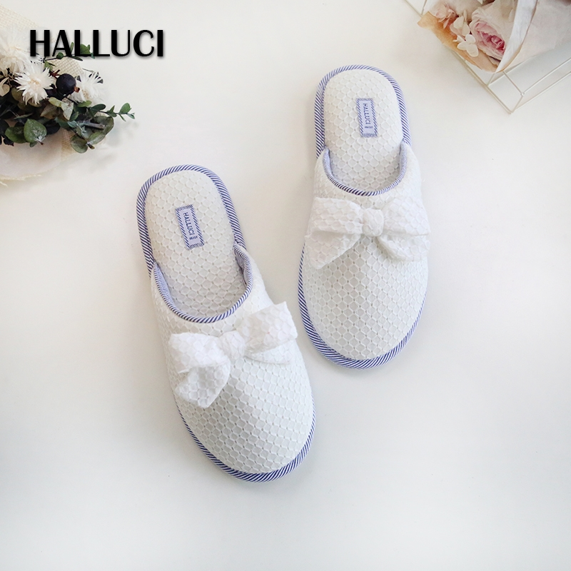 HALLUCI Summer fresh blue and white stripe slippers shoes woman simple soft Anti-skid cotton indoor home slippers for women blue and white canvas anti static shoes esd clean shoes pharmaceutical shoes work shoes add cotton