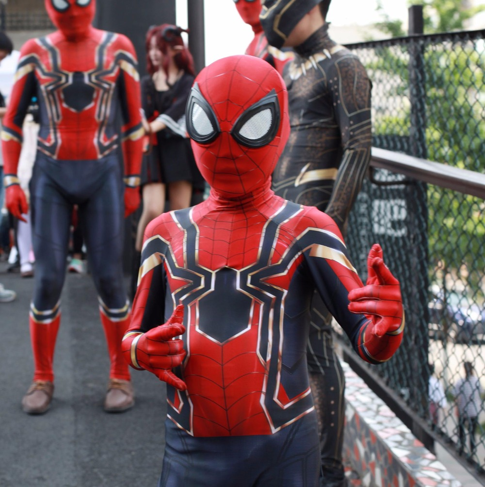 Kids Childre Spiderman Homecoming Cosplay Costume Zentai Iron Spider Man Superhero Bodysuit Avengers War Suit Jumpsuit
