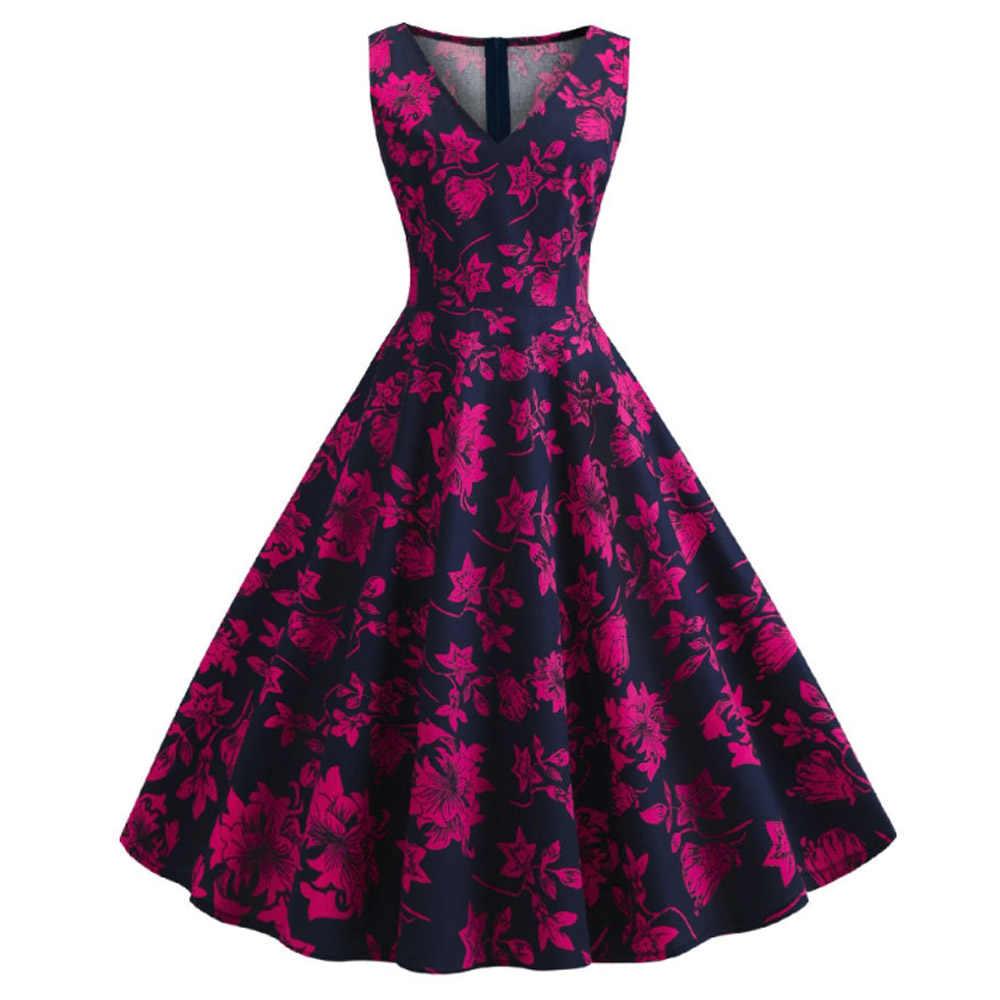 Wanita Gambar Bunga Gaun Vestido Plus Ukuran Besar Ayunan Retro Kasual Prom Rockabilly Pesta 50 S 60 S Pinup vintage Gaun