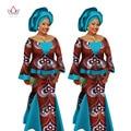 2017 Conjunto de Falda Para Las Mujeres Africanas Tradicionales Blusa Superior y Sistema de la falda de Impresión Cera Dashiki Tallas Blusa Falda Conjuntos WY1380