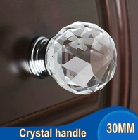 30MM 20pcs Fashion K9 Crystal Diamond Furniture Handles Hardware Drawer Wardrobe Kitchen Cabinets Cupboard Door Knob