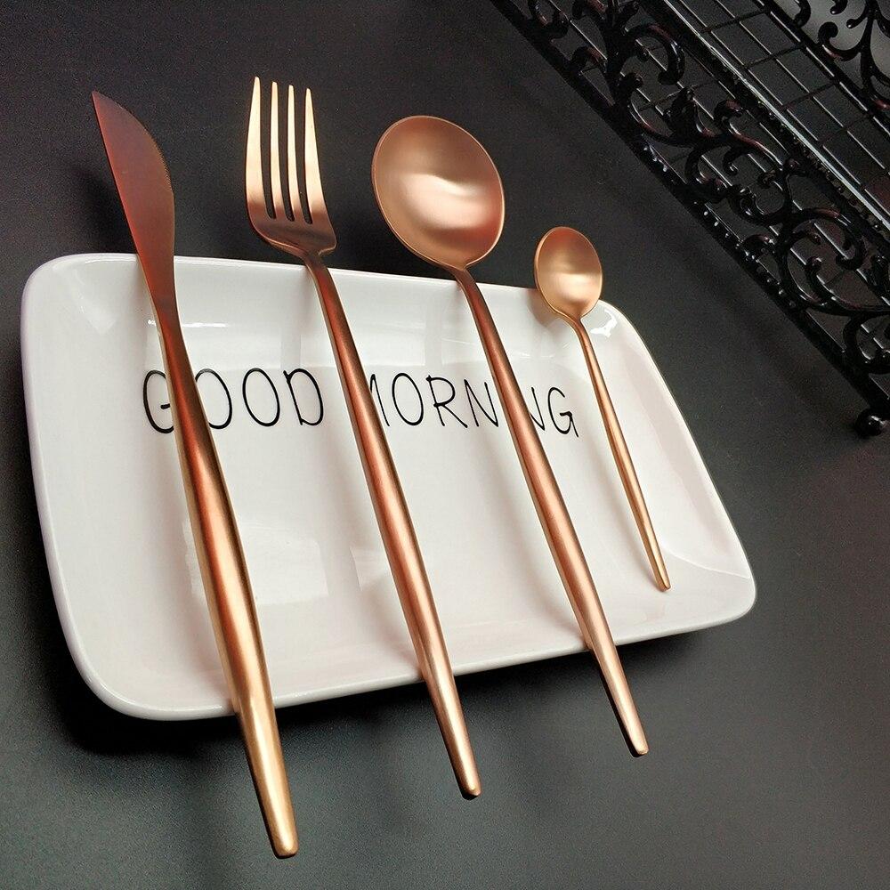 Hot Sale 4pcs Rose Gold Western Cutlery Dinnerware Kitchen 304 Stainless steel Knife Fork Spoon Food Tableware Flatware Set in Dinnerware Sets from Home Garden