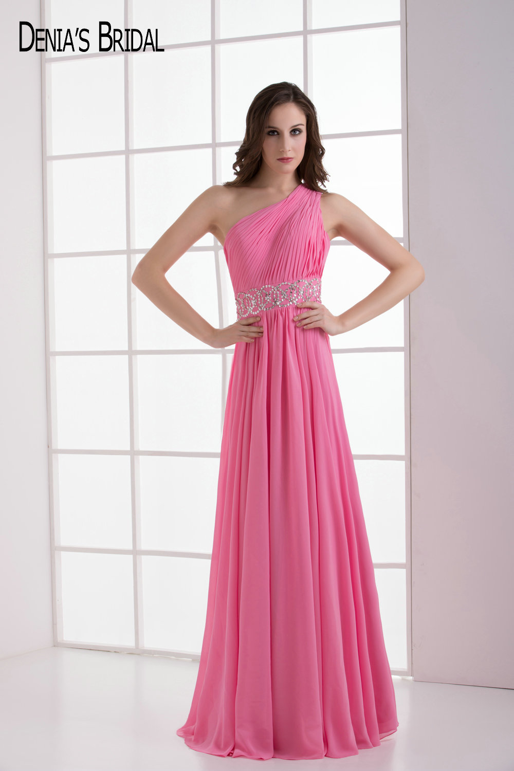 Compare prices on long pink chiffon bridesmaid dress online 2017 simple elegant pink a line formal wedding day one shoulder neckline chiffon long ombrellifo Images