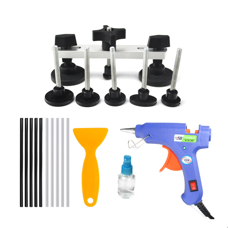 20Pcs Auto Body Paintless Dent Removal Tools Kit Bridge Dent Puller Kits With Hot Melt Glue Gun And Glue Sticks