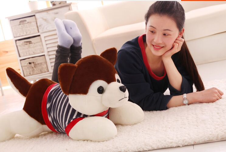 large 70cm prone husky dog stuffed plush toy soft throw pillow Christmas gift w1907 stripes sweater design prone husky largest 165cm gray husky dog plush toy sleeping pillow surprised christmas gift h907
