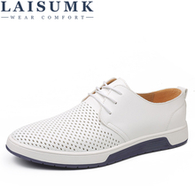 LAISUMK Brand Summer Men Leather Casual Shoes Fashion Breathable Holes White Leisure Shoes Flats Big Size 37-48 Driver Footwear