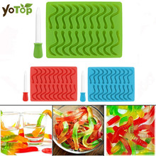YOTOP Silicone Snakes Worms Shaped Mould Gummy Creative Worm Candy Duck Molds Chocolate Mold Creative Children DIY Cake Tools