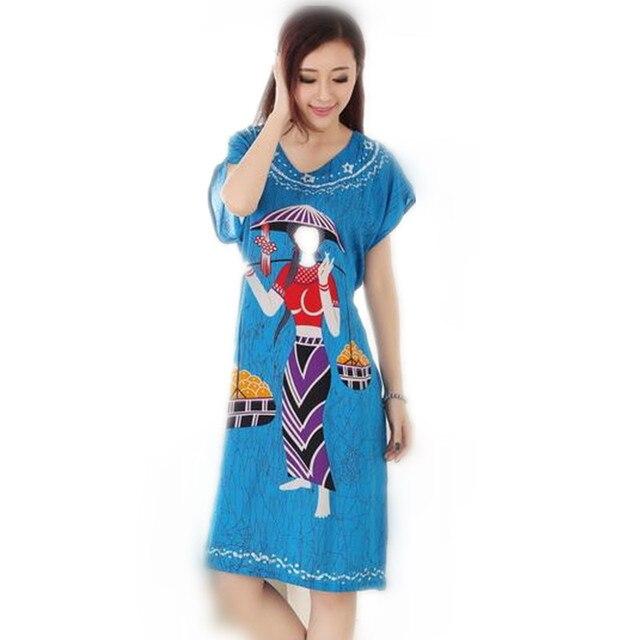 Стильная Синяя Лето С Коротким Рукавом женская Хлопок Ночная Рубашка Китайский Стиль Одеяние Ванна Платье Цветок Пижамы Один Размер T062