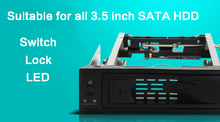 Locks/Switch/LED Tool-free 3.5″ SATA SSD HDD Rom Mobile Rack Hot Swap Serial ATA Internal Hard Drive Disk Aluminum Enclosure Box
