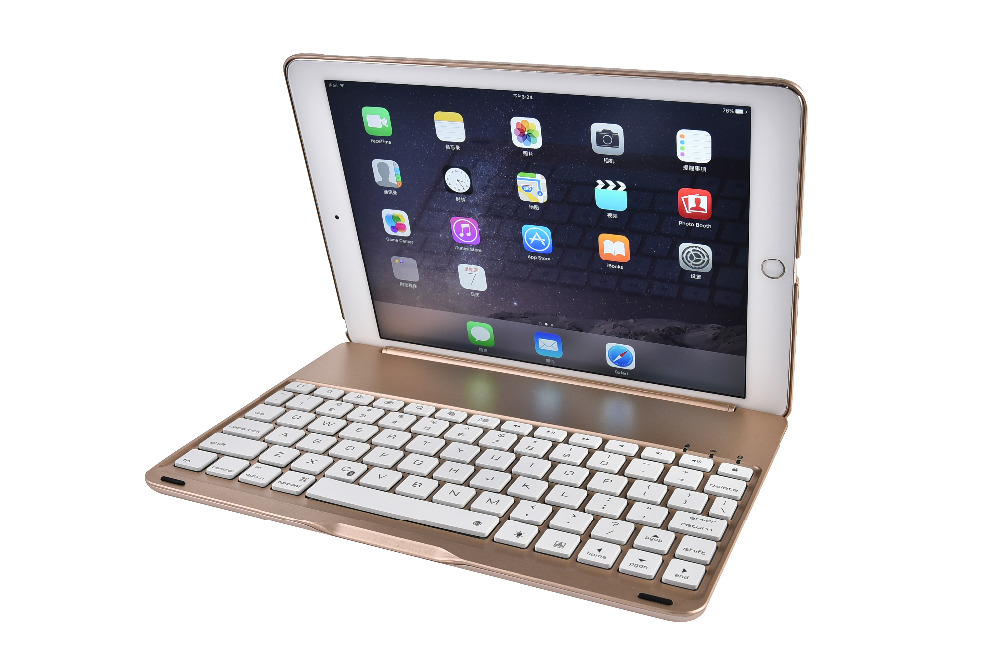 Russian/Spanish/Hebrew Aluminium Alloy 7 Colors Backlit Light Wireless Bluetooth Keyboard Clamshell Case For Apple Ipad Pro 9.7