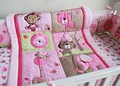 100% Cotton Pink embroidery elephant Lions giraffes Appliqued animals Baby Cot Crib Bedding Set Quilt Bumper bedskirt Fitted