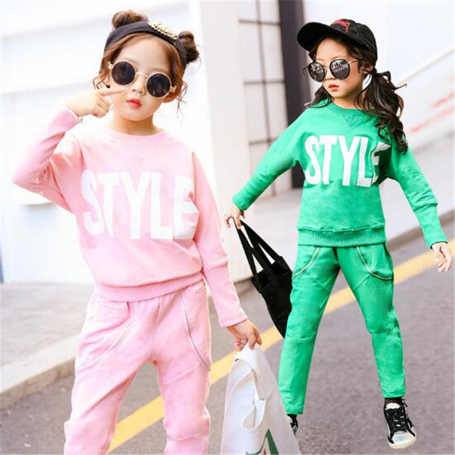 beacb4123ba8 Spring Autumn New Baby Girls Sport Suit 2018 Children Clothing Sets ...