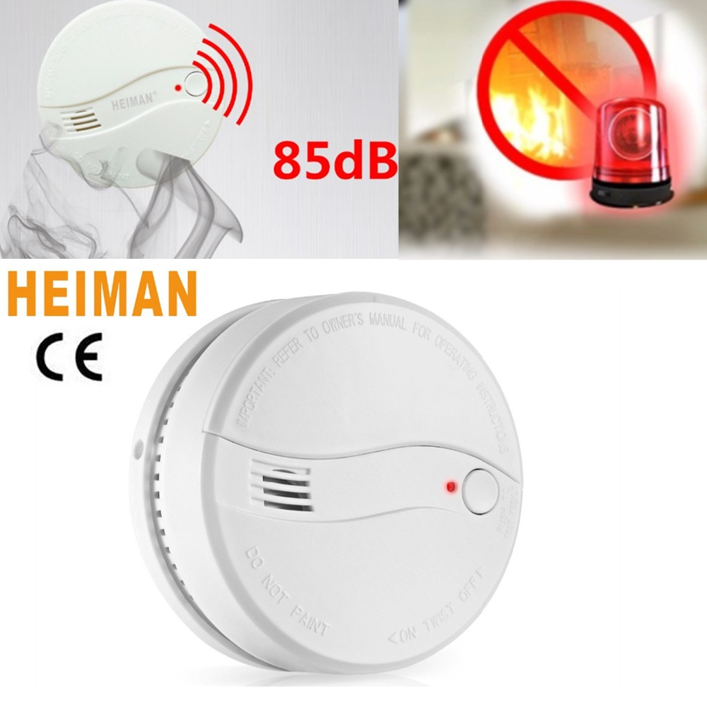 HEIMAN 10Years Photoelectric Smoke Alarm Detector Power With 9V Replaceable Battery High Sensitivity For Home Security-622PS