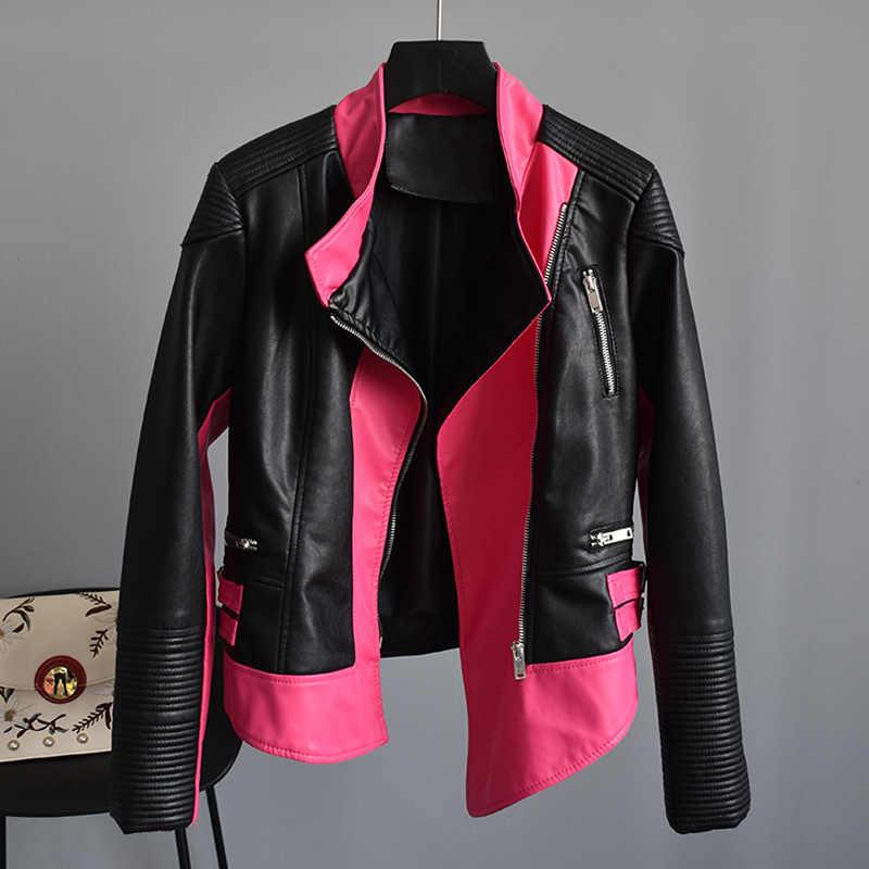 a0eb48ca3 Fitaylor Autumn Faux Soft Leather Women Short Jacket Asymmetric Punk Bomber  Coats Turn-down Collar Zipper Leather Outerwear