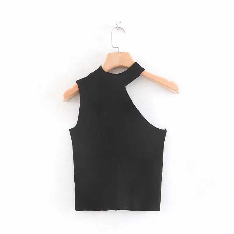 Klacwaya Nữ Gân Dệt Kim Sling 2019 Mùa Hè Mới thời trang nữ bất đối xứng Áo len sang trọng bé gái mỏng dệt kim cao cấp