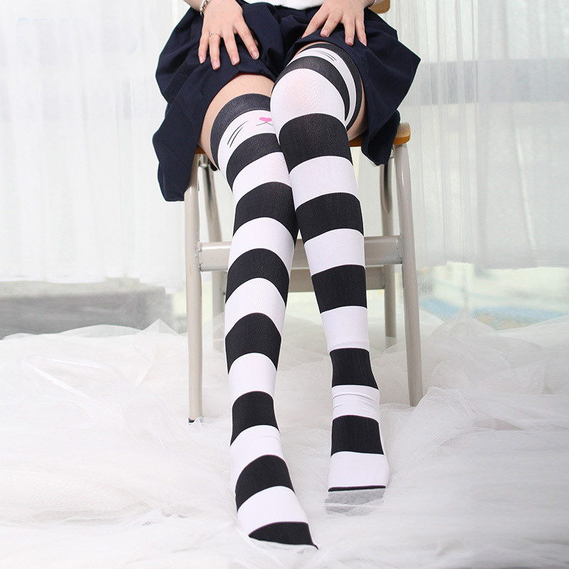 2019 Summer 1 Pair Womens Stockings Stripe Pink Sexy Thin Thigh High Pantyhose Stockings   Fashion Girls Long Stocking 5S-SW12