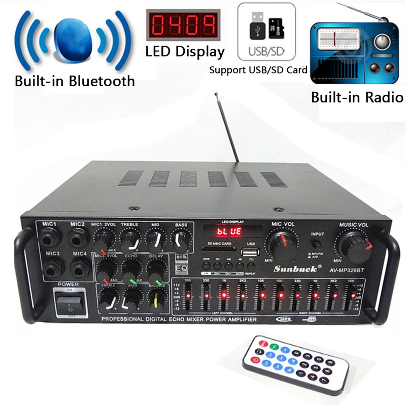 EQ Hifi 2 Channel Bluetooth Stereo Audio Home Karaoke Power Amplifier Wireless Version Stereo Amplifier Car Auto Amplifier hifi 2 1 channel edr bluetooth car amplifier subwoofer usb u disk auto stereo audio amplifier with remote control power adapter