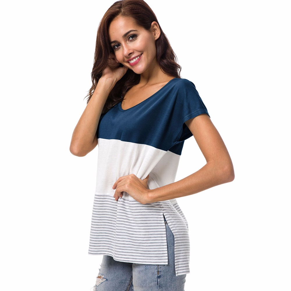 Summer new hot popular vogue is stitched stripe circular collar is loose female short sleeve in T Shirts from Women 39 s Clothing